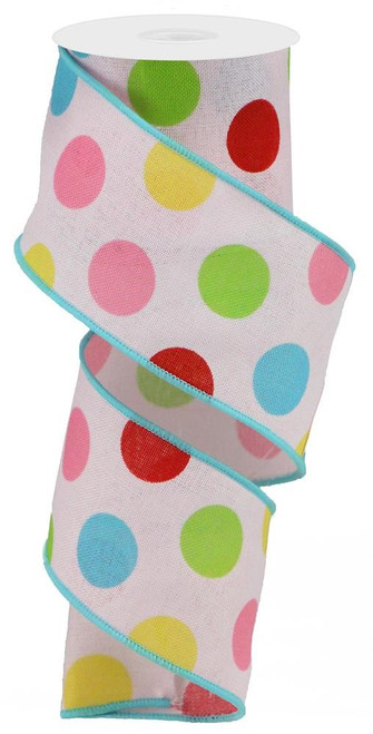 "2.5"" Multicolor Polka Dot Linen Ribbon: Lt Pink - 10Yds"