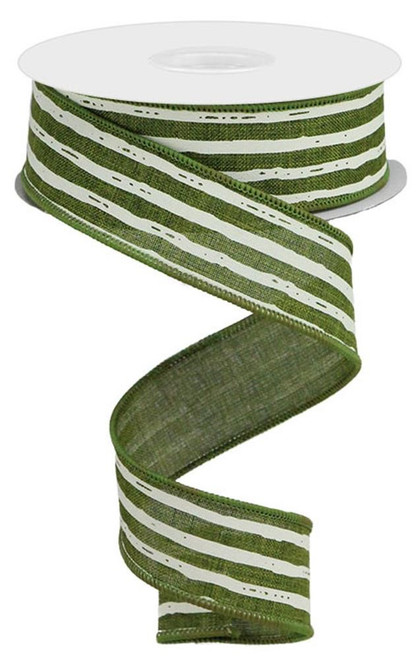 "1.5"" Irregular Stripe Ribbon: Moss/Cream"