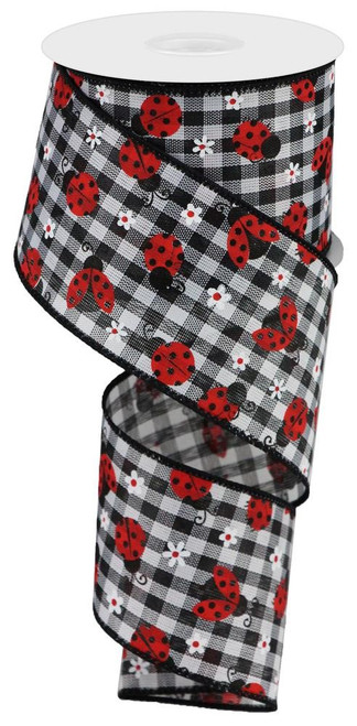 "2.5"" x 10yds Mini Ladybug Ribbon: Blk/Wht Check"