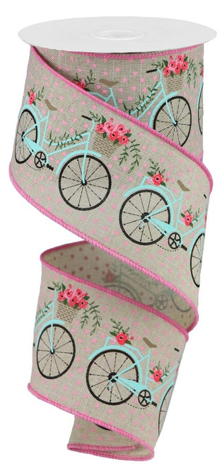 "2.5"" Bicycle Ribbon: Lt Natural/Pink - 10Yds"