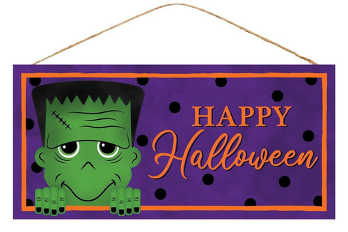 "12.5"" Happy Halloween Frankenstein Sign"