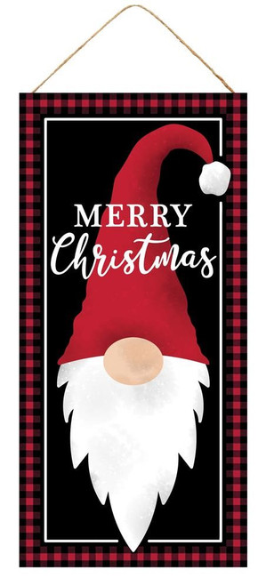 """12.5"""" Merry Christmas Gnome Sign: Black/Red"""