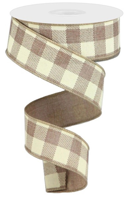 "1.5"" Striped Check Ribbon: Light Beige/Ivory- 10Yds"