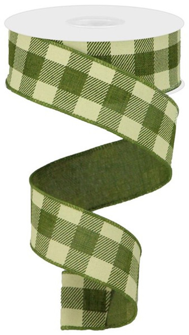 "1.5"" Striped Check Ribbon: Moss Green/Ivory- 10Yds"