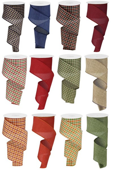 "2.5"" Primitive Solid/Gingham Ribbon Assortment, Box of 12"