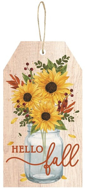 "12.5"" Hello Fall Tag Sign"