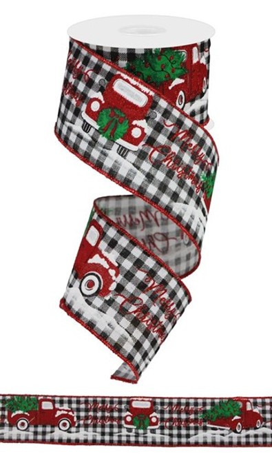 "2.5"" Merry Christmas Truck Ribbon: Blk/Wht Check - 10Yds"