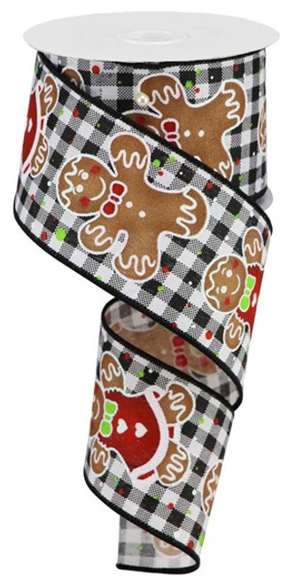 "2.5"" Gingerbread Ribbon: Black/White Gingham- 10Yds"