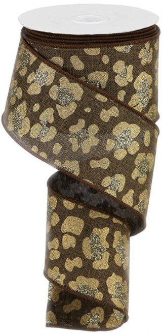 "2.5"" Leopard Print Ribbon:  Brown -  10yds"