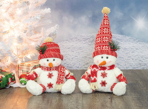 Rosy Cheeked Snowman Sitters