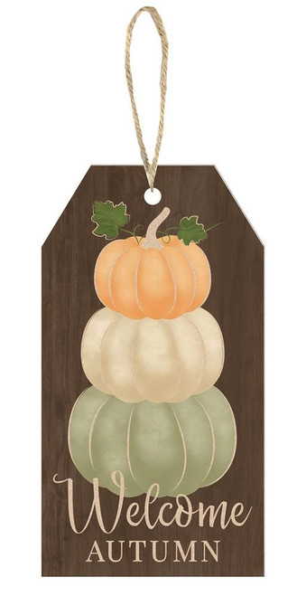 "12"" Welcome Autumn Pumpkin Sign"