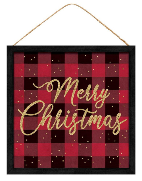 "10"" Merry Christmas Check Sign: Red/Blk"