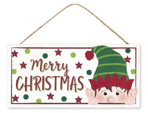 "12.5"" Peeking Elf Christmas Sign"