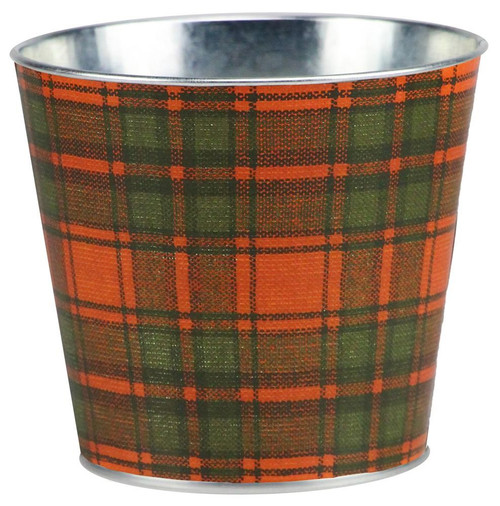 "5"" Fall Plaid Pot Cover: Orange/Moss Green/Brwn"