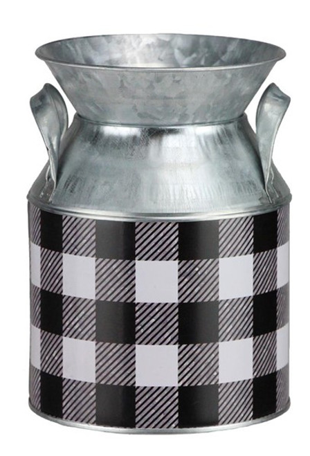 Small Checked Milk Can Container: Black/White