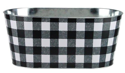 Checked Tin Planter: Black/White