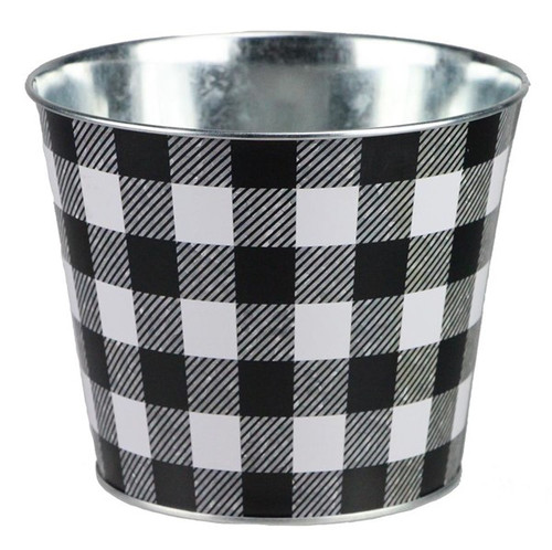 "6.75"" Check Pot Cover: Black/White"