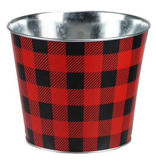 "6.75"" Check Pot Cover: Red/Black"