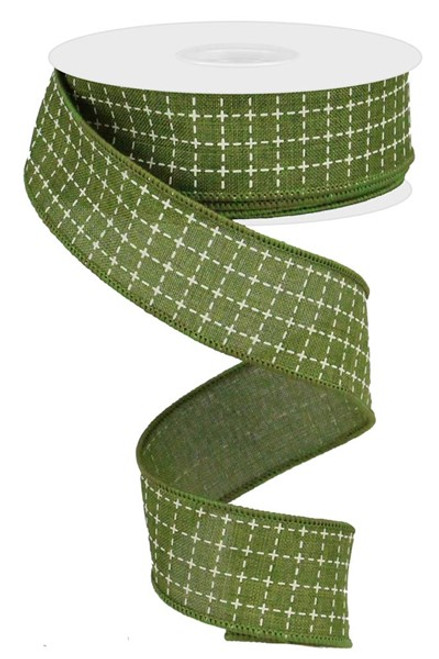 """1.5"""" Moss Green/Cream Stitched Square Ribbon - 10Yds"""