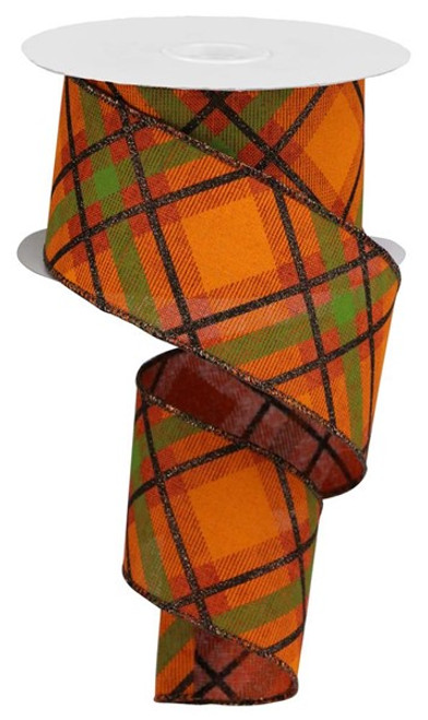 "2.5"" Diagonal Glitter Plaid Ribbon: Orange/Moss/Rust/Brown- 10yd"