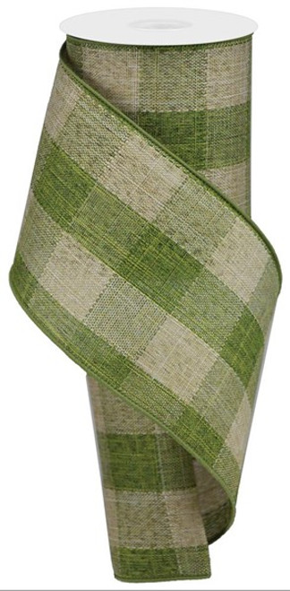"4"" Large Woven Check Ribbon: Moss Green/Beige - 10Yds"