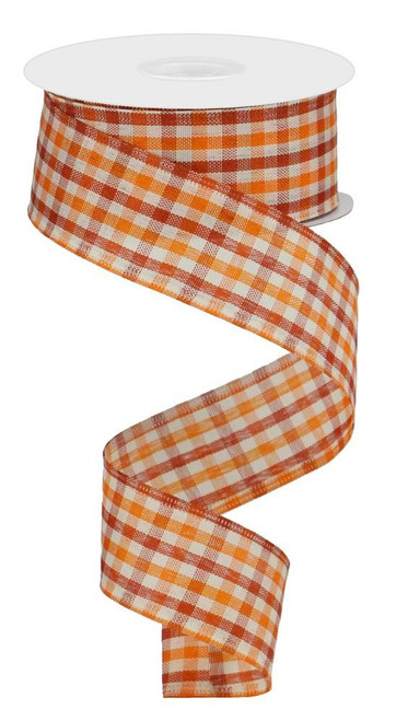 "1.5"" Woven Gingham Check Ribbon: Orng/Rust/Ivory 10Yds"