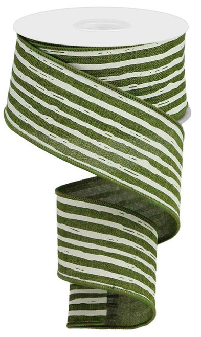 "2.5"" Irregular Stripe Ribbon: Moss/Cream"