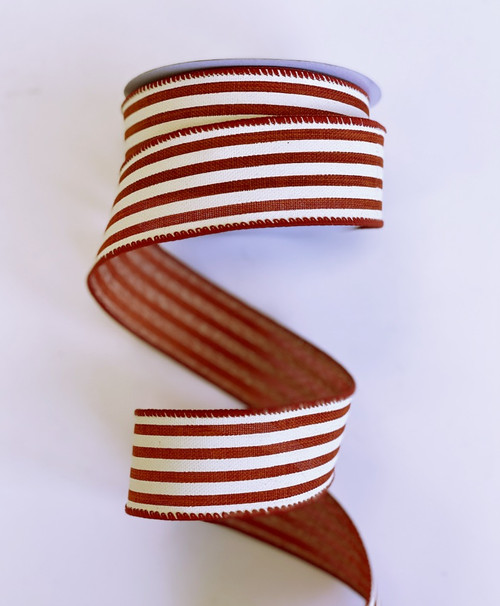 "1.5"" Vertical Stripe Ribbon: Rust/Ivory -10Yds"