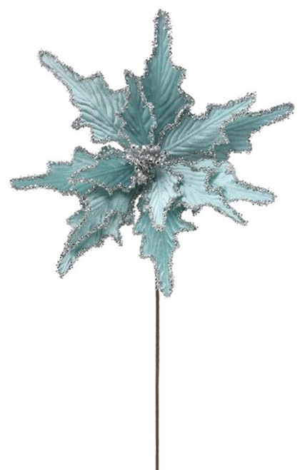 Velvet/Glitter Poinsettia Stem:  Light Blue