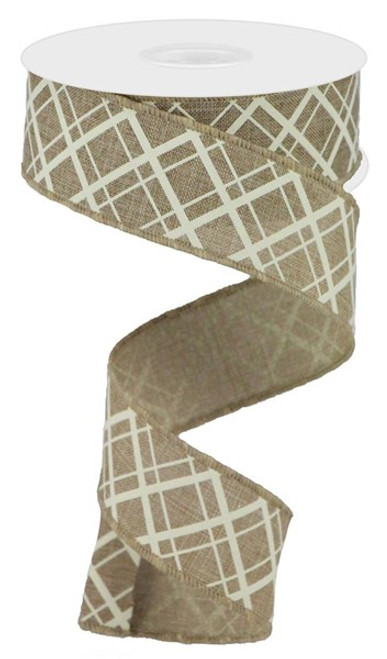 "1.5"" Thick/Thin Diagonal Check Ribbon: Lt Beige/Ivory- 10Yds"