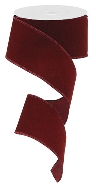 "2.5"" Indoor Velvet Ribbon: Burgundy - 10yds"