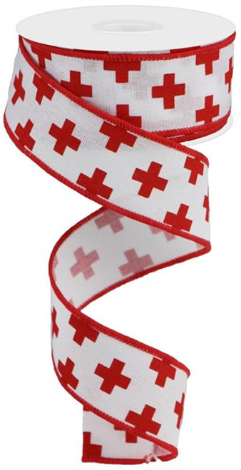 "1.5"" Swiss Cross Print Ribbon: White/Red-  10yd"