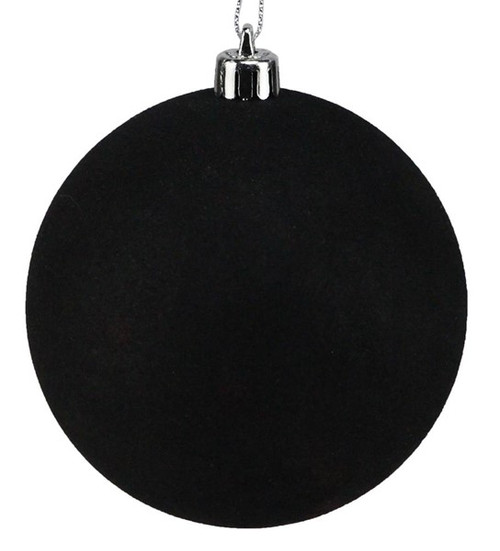 100mm Ball Ornament: Black Smooth Flocked