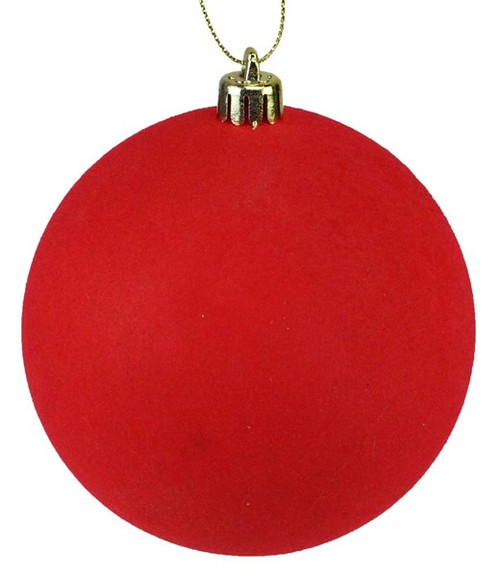 100mm Ball Ornament: Red Smooth Flocked