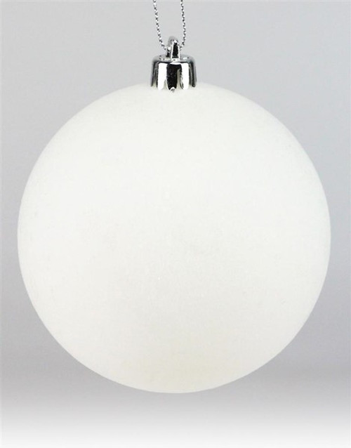100mm Ball Ornament: White Smooth Flocked