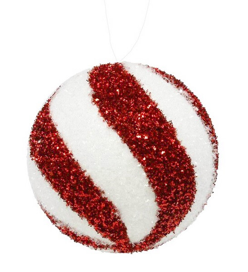 100mm Swirl Glitter Ball Ornament: Red/Wht