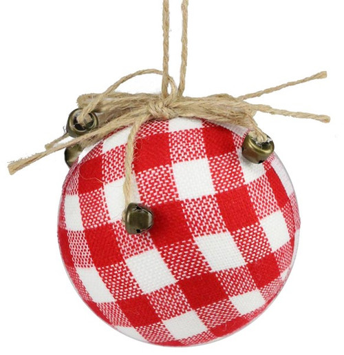 "4"" Check Ball Ornament: Red/White"