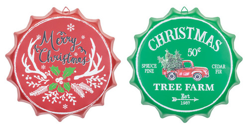 Christmas Bottlecap Signs (Assorted)