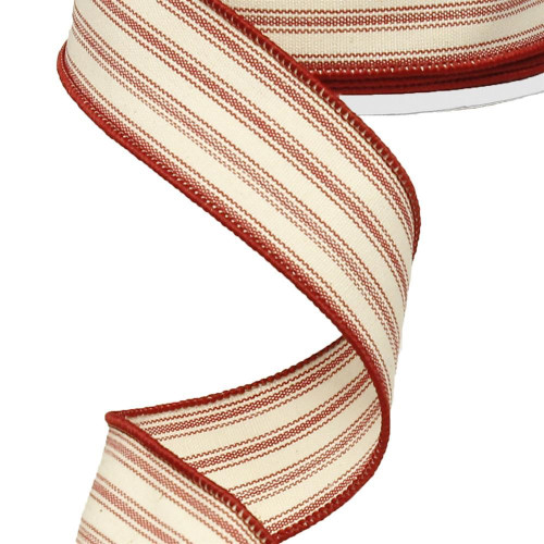 "1.5"" Ticking Stripe Ribbon: Ivory/Red - 10yds"