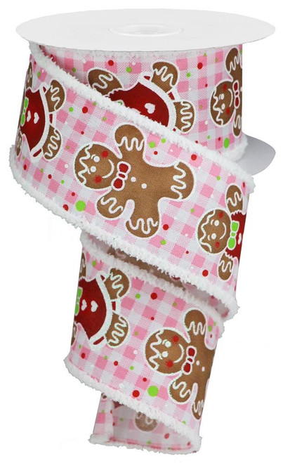 "2.5"" Gingerbread Ribbon Drift Edge: Pink/White Gingham- 10Yds"