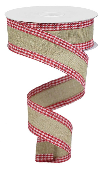 """1.5"""" Solid Linen Gingham Edge Ribbon: Beige/Red"""