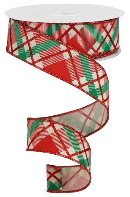 "1.5"" Diagonal Glitter Plaid Ribbon: Cream/Red/Emerald - 10yd"
