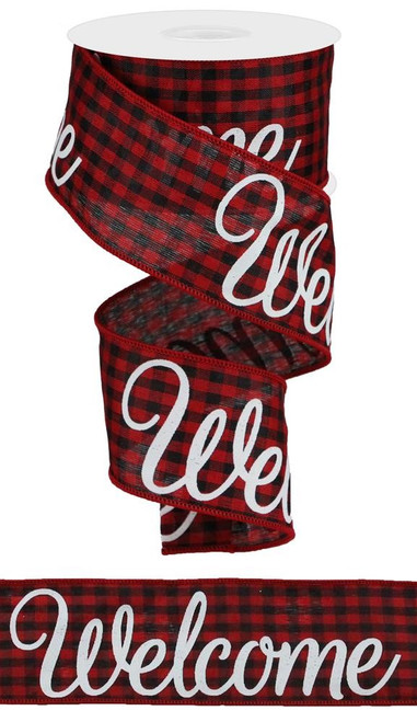 "2.5"" Welcome Gingham Ribbon: Red/Black/White - 10yds"