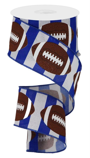 "2.5"" Football Stripe Ribbon: Blue/White - 10Yd"