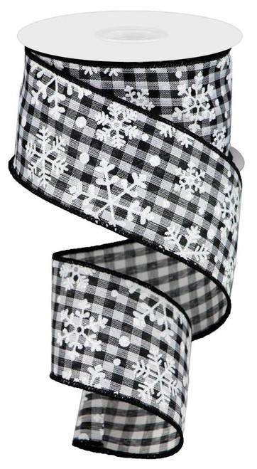 "2.5"" Falling Snowflake Ribbon: Black/Wht Check - 10 yards"