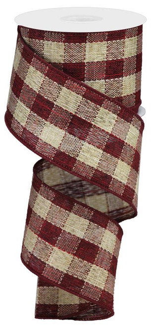 "2.5"" Woven Check Ribbon: Burgundy/Beige - 10Yds"