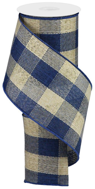"4"" Large Woven Check Ribbon: Blue/Beige - 10Yds"