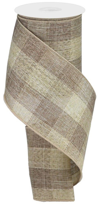 "4"" Large Woven Check Ribbon: Brown/Beige - 10Yds"