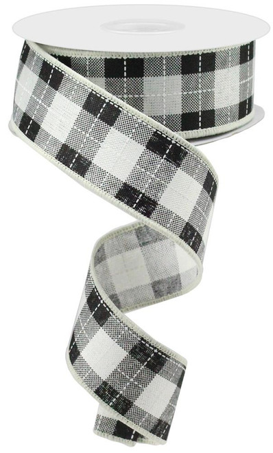 "1.5"" Printed Woven Check Ribbon: Ivory/Blk/Wht - 10Yds"