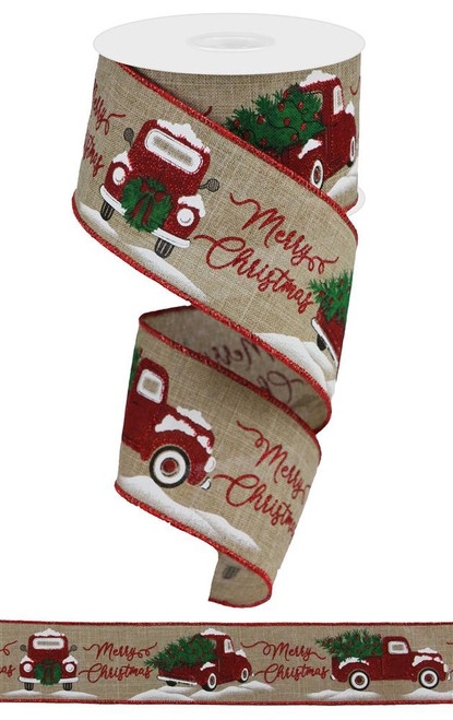 "2.5"" Merry Christmas Truck Ribbon: Beige - 10Yds"